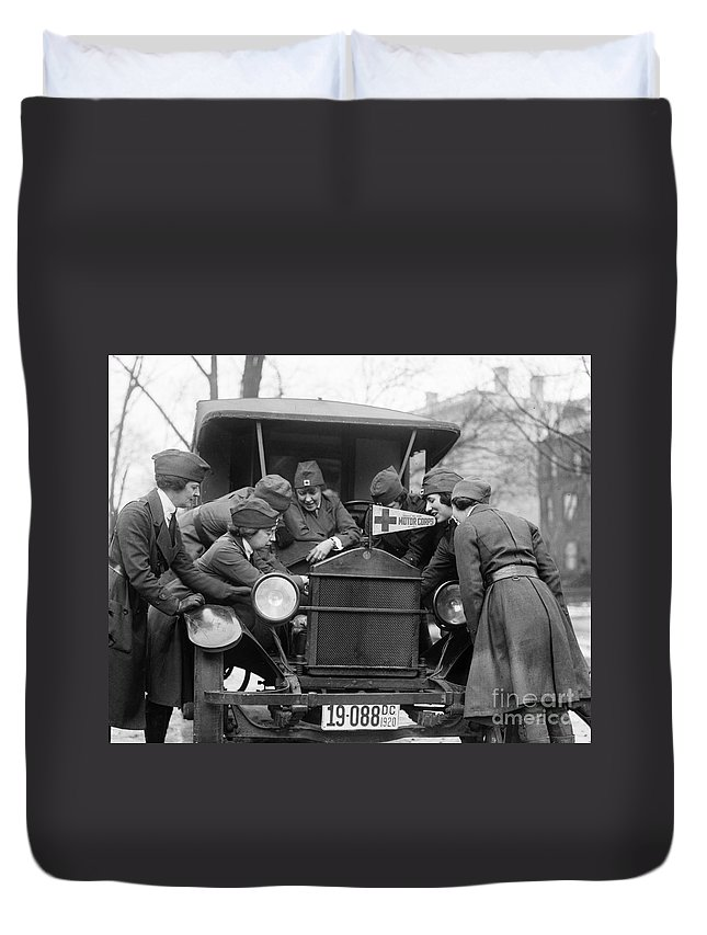1920 Duvet Cover featuring the photograph Red Cross, C1920 by Granger