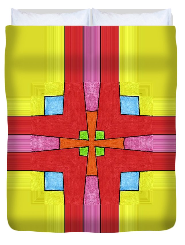 Duvet Cover featuring the digital art Red Cross by Jeffrey Todd Moore