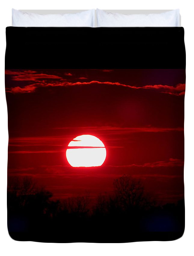 Red Duvet Cover featuring the photograph Red Cross Levee Sunset by Gina Welch