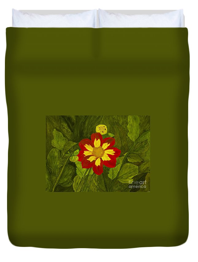 Red Duvet Cover featuring the painting Red Dahlia by Louise Magno