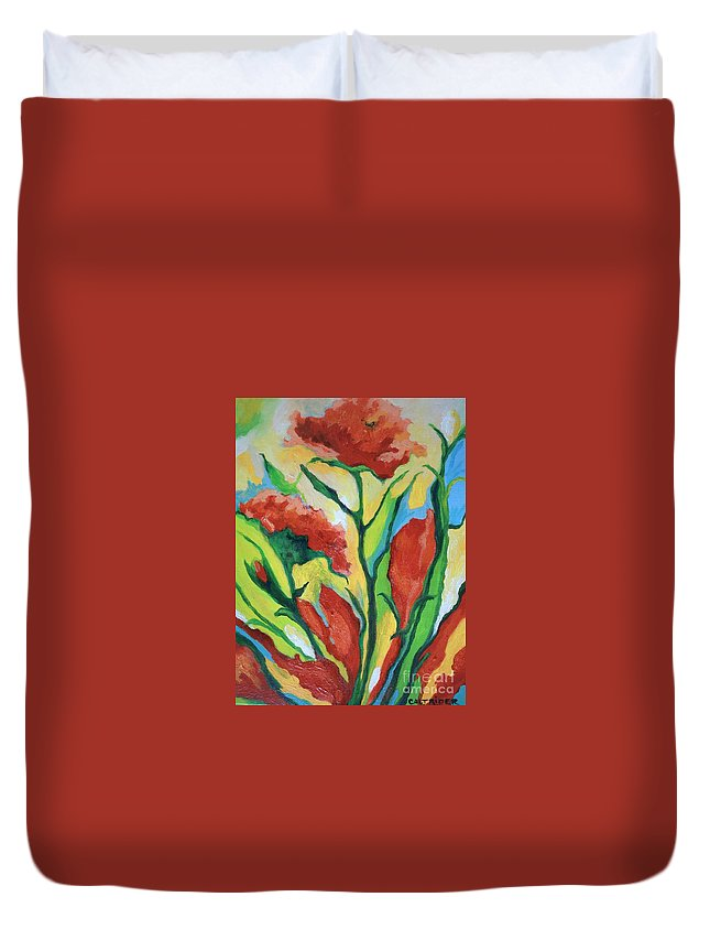 Flowers Duvet Cover featuring the painting Red Delight by Alison Caltrider