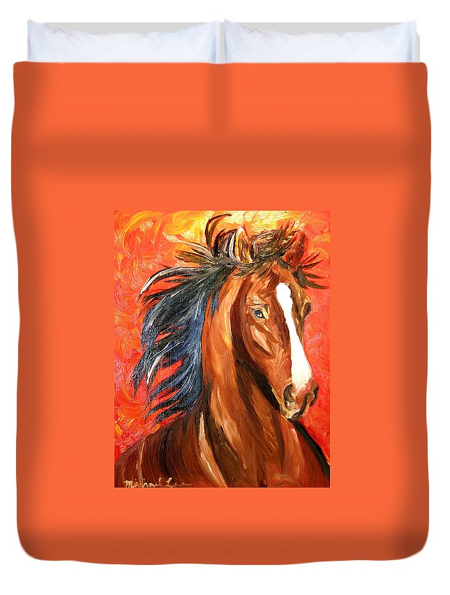 Horse Duvet Cover featuring the painting Red Devil by Michael Lee