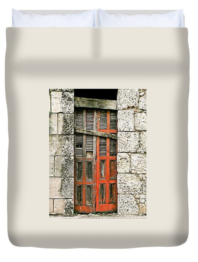 Door Duvet Cover featuring the photograph Red Door by Douglas Barnett