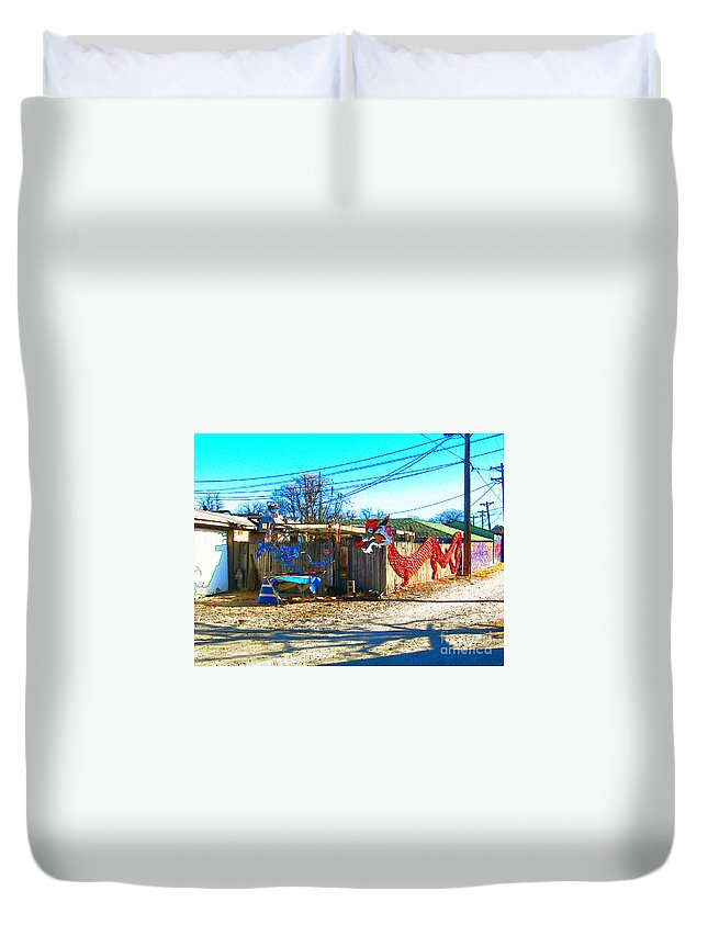Duvet Cover featuring the photograph Red Dragon by Kelly Awad