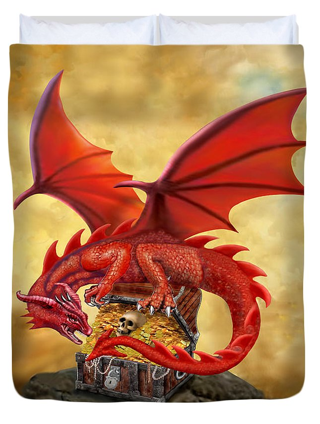 Red Dragons Treasure Chest Duvet Cover For Sale By Glenn Holbrook
