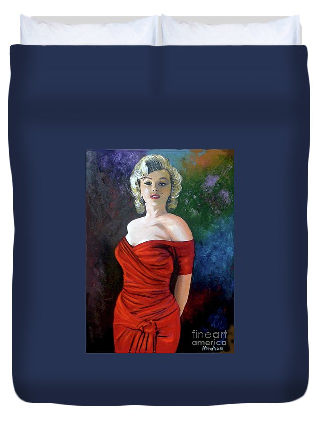 M.monroe Duvet Cover featuring the painting Red Dress by Jose Manuel Abraham