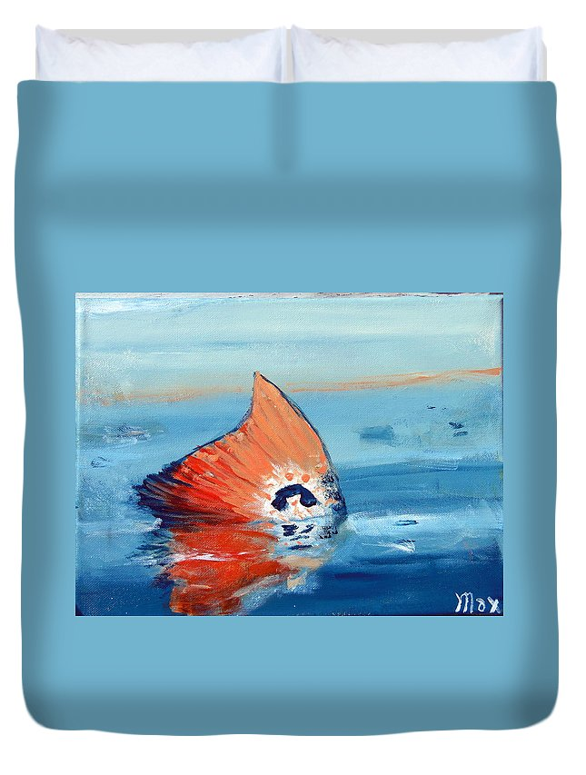 Fish Duvet Cover featuring the painting Red Drum Tailing by Max Bowermeister