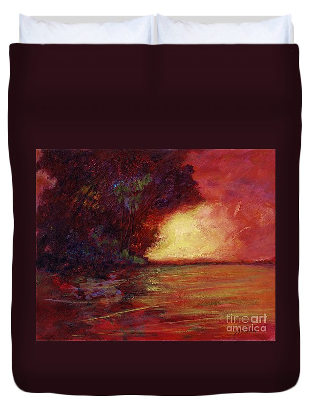 Impressionism Duvet Cover featuring the painting Red Dusk by Julianne Felton