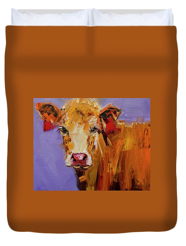 Cow Art Oil Painting Duvet Cover featuring the painting Red Earring Cow by Diane Whitehead