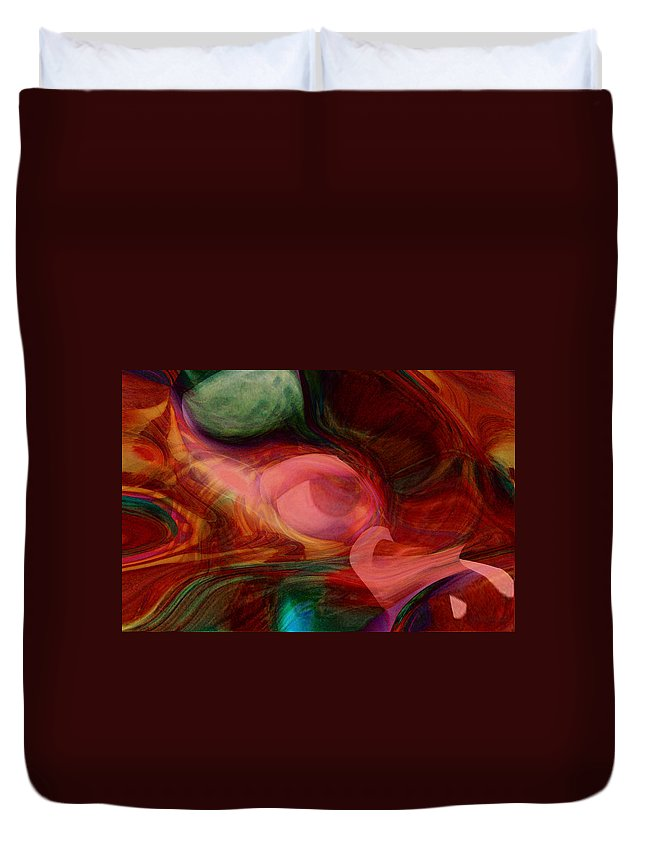 Abstract Art Duvet Cover featuring the digital art Red Eye by Linda Sannuti