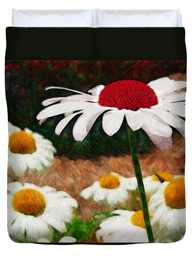 Ebsq Duvet Cover featuring the photograph Red Eyed Daisy by Dee Flouton