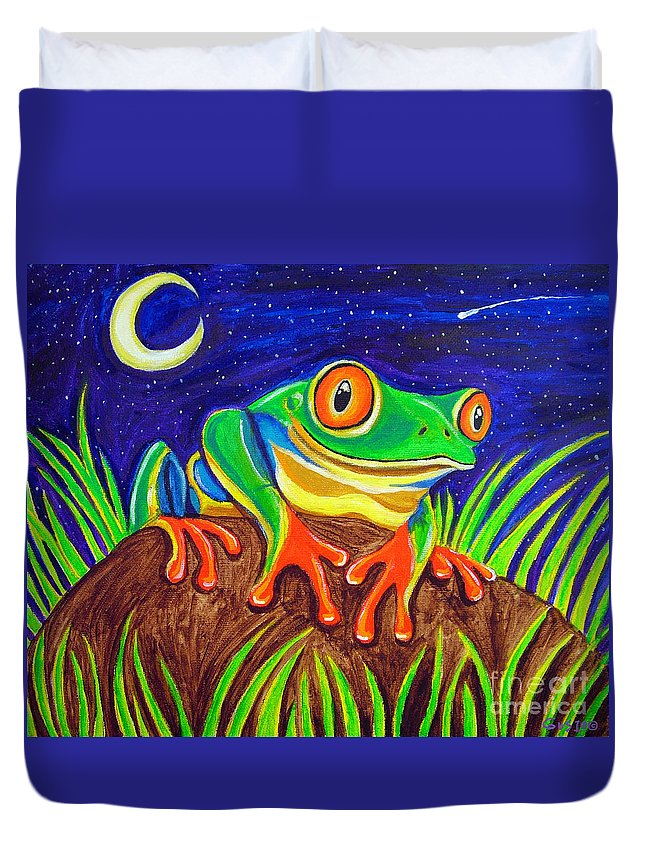 Red-eyed Tree Frog Duvet Cover featuring the painting Red-eyed Tree Frog And Starry Night by Nick Gustafson
