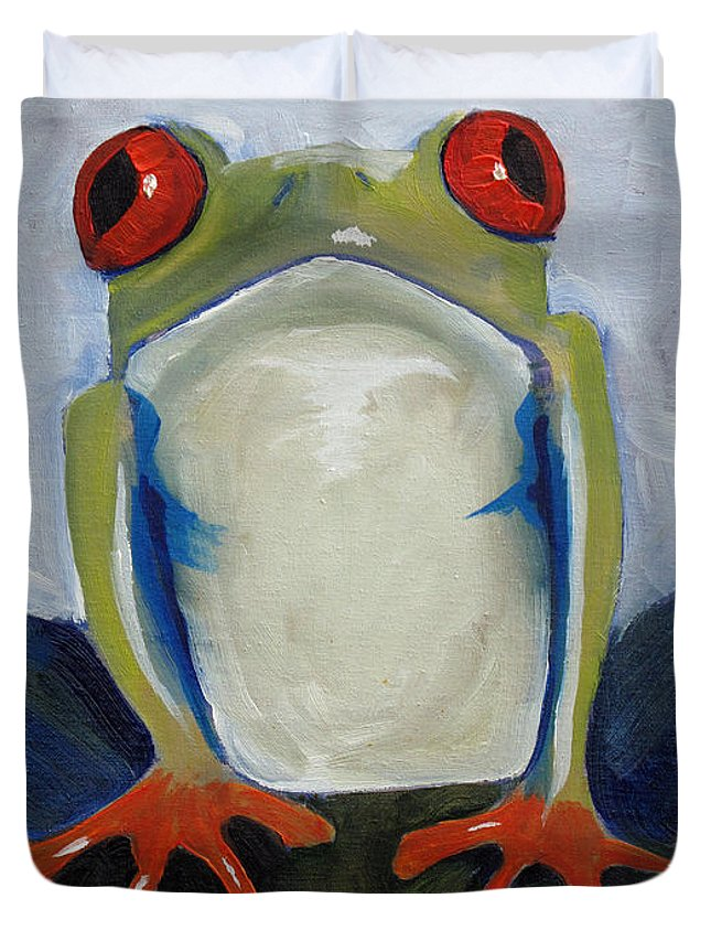 Red Duvet Cover featuring the painting Red Eyed Tree Frog by Dina Day