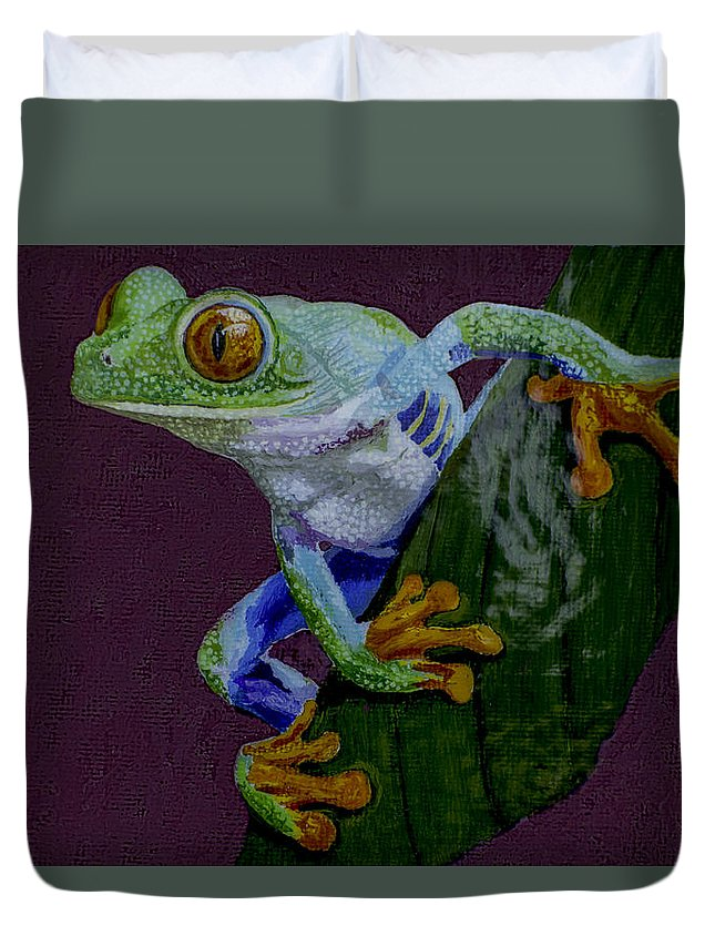 Red Eyed Duvet Cover featuring the painting Red Eyed Tree Frog Original Oil Painting 4x6in by Manuel Lopez