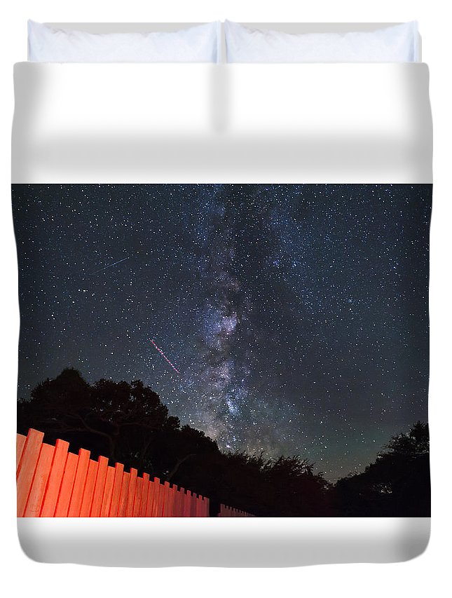 Milky Way Duvet Cover featuring the photograph Red Fence Milky Way by Rick Felty