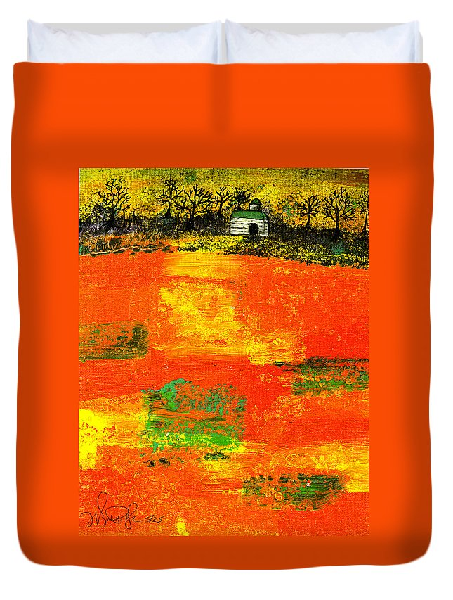 Rural Duvet Cover featuring the painting Red Fields by Wayne Potrafka