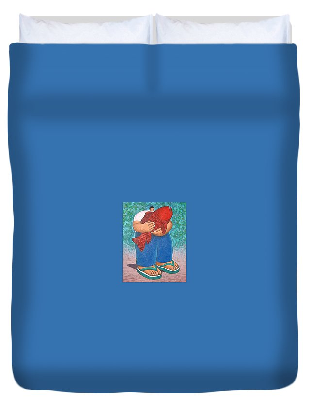 Acrylic Duvet Cover featuring the painting Red Fish And Blue Trousers. by Vico Vico