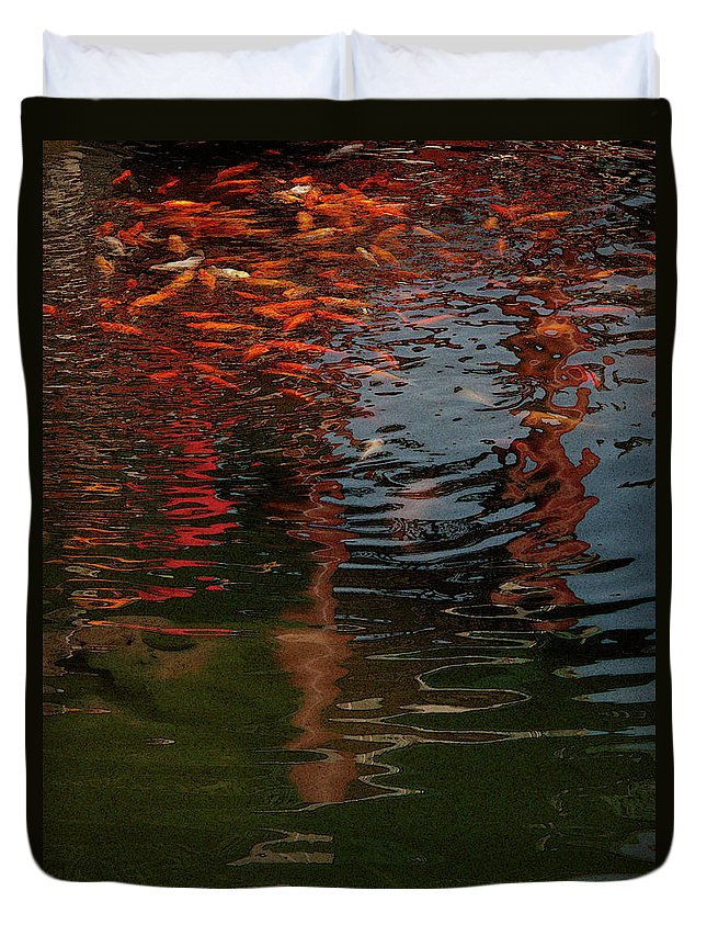 Animal Duvet Cover featuring the photograph Red Fishes In A Pond Pictorial II by Stefania Levi