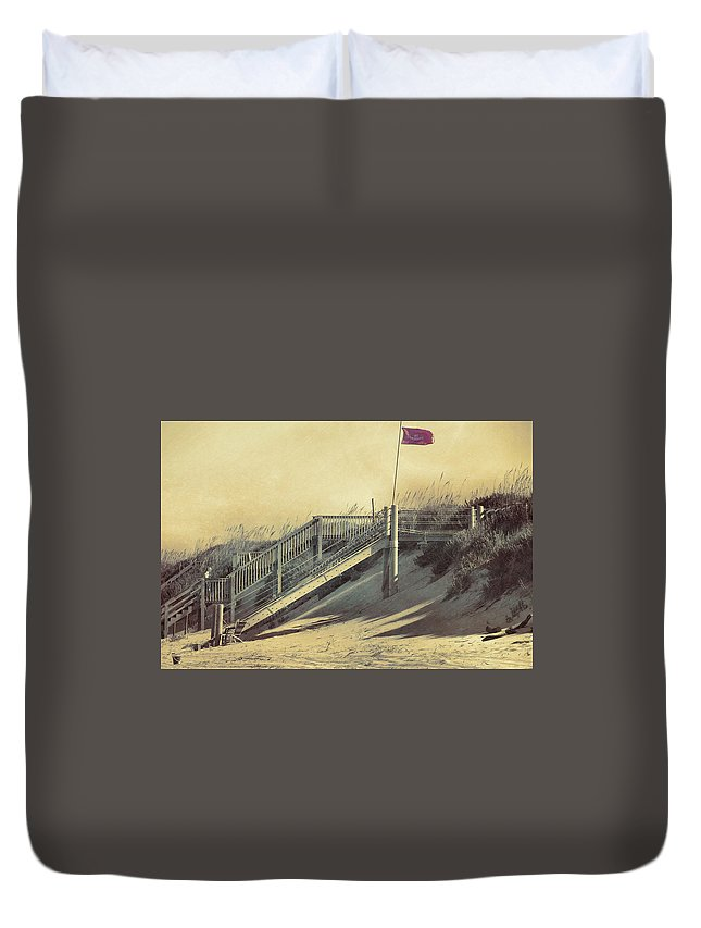 Beach Duvet Cover featuring the photograph Red Flag Day by JAMART Photography