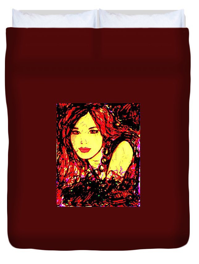 Woman Duvet Cover featuring the painting Red Flirt by Natalie Holland