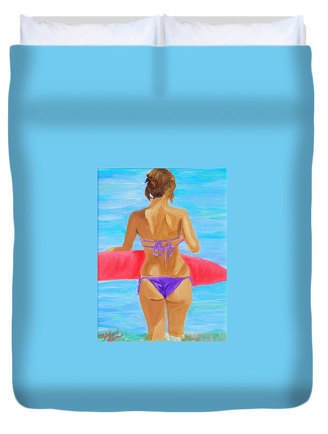 Lady Duvet Cover featuring the painting Red Float by Michael Lee
