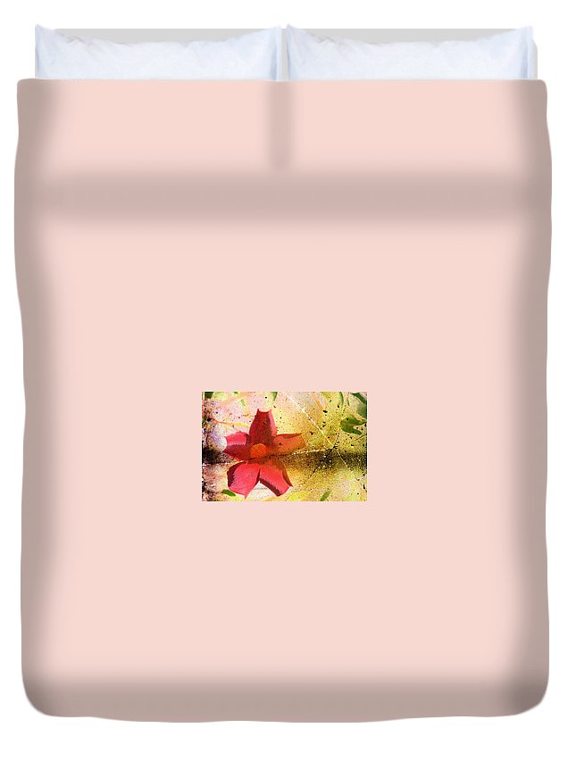 Red Duvet Cover featuring the photograph Red Floral Grunge by Cassie Peters
