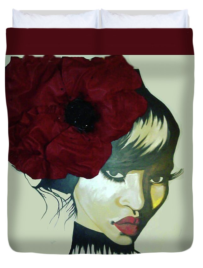 Red Flower Women Duvet Cover featuring the painting Red Flower by Charis Kelley