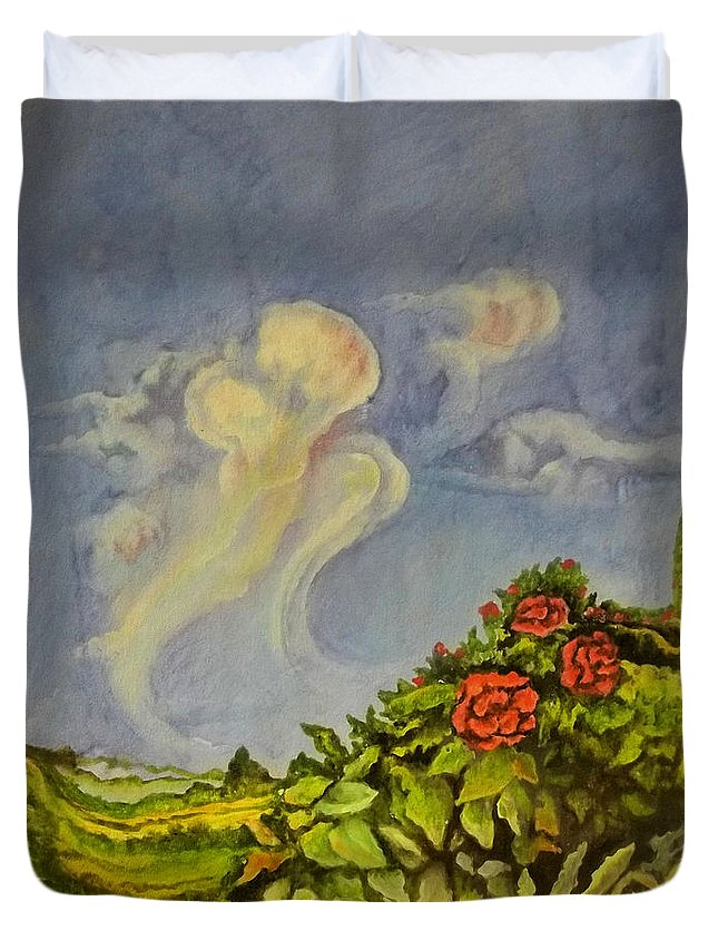 Fantastic Landscape Duvet Cover featuring the painting Red Flowers by Alexander Dudchin