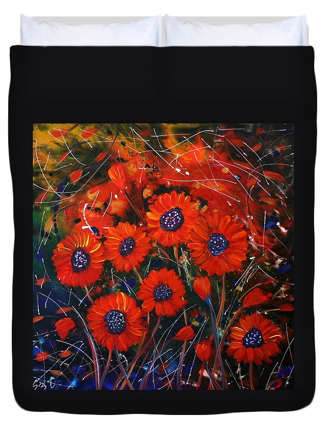 Flowers Duvet Cover featuring the painting Red Flowers In The Night by Luiza Vizoli