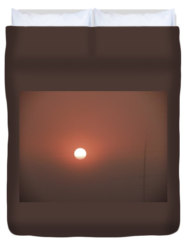 Sunrise Duvet Cover featuring the photograph Red Foggy Sunrise by Peggy King