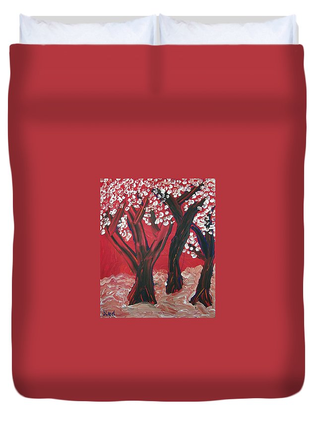 Forest Duvet Cover featuring the painting Red Forest by Joshua Redman