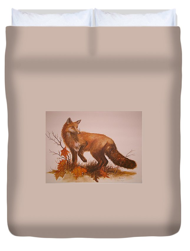 Nature Duvet Cover featuring the painting Red Fox by Ben Kiger