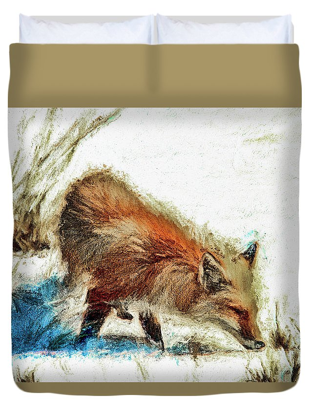 Recent Duvet Cover featuring the photograph Red Fox Painted Series by Geraldine Scull