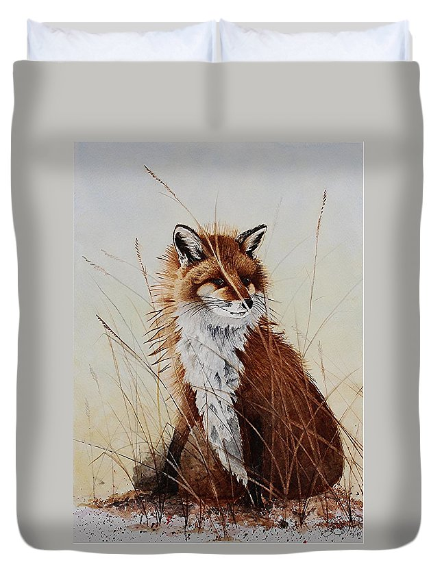 Wildlife Duvet Cover featuring the painting Red Fox Waiting On Breakfast by Jimmy Smith