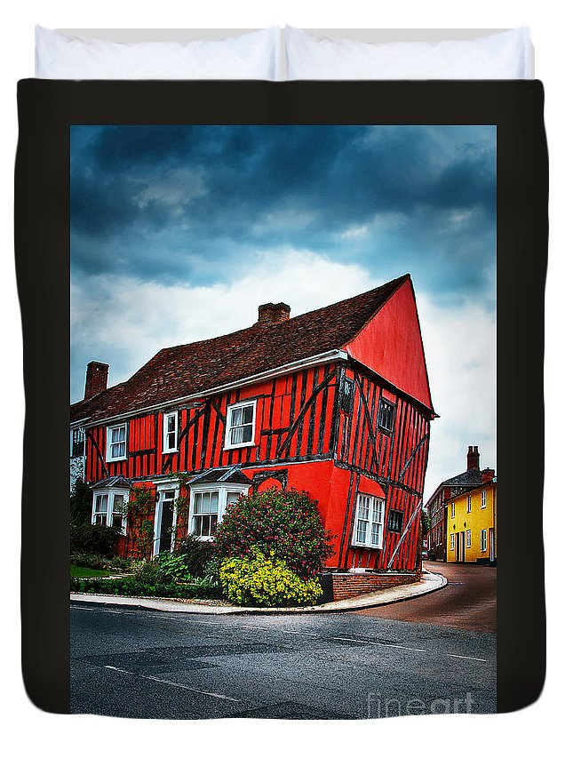 England Duvet Cover featuring the photograph Red Frame House In Lavenham, England. by Katarjina Telesh