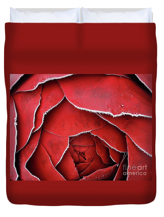 Horizontal Duvet Cover featuring the photograph Red Frosty Metal Rose by Stefania Levi