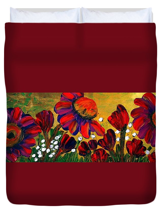 Flowers Duvet Cover featuring the painting Red Garden by Luiza Vizoli
