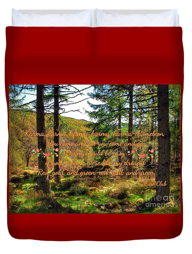 Abernethy Forest Duvet Cover featuring the photograph Red, Gold And Green by Joan-Violet Stretch