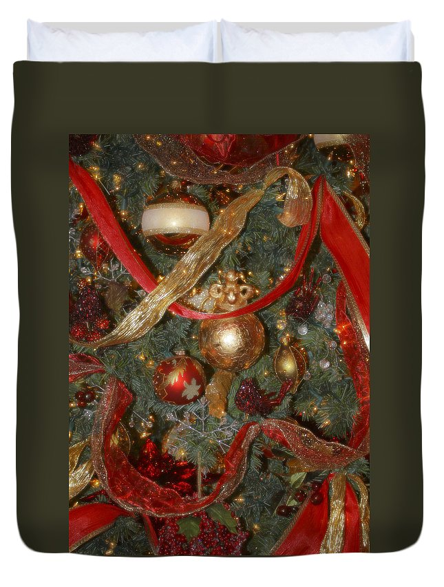 Christmas Duvet Cover featuring the photograph Red Gold Tree No 2 Fashions For Evergreens Event Hotel Roanoke 2009 by Teresa Mucha