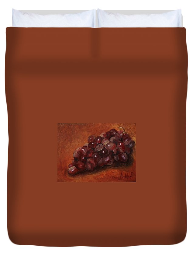 Fruit Duvet Cover featuring the painting Red Grapes by Barbara Andolsek