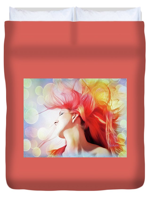 People Duvet Cover featuring the pastel Red Hair With Bubbles by Ombretta Lanari