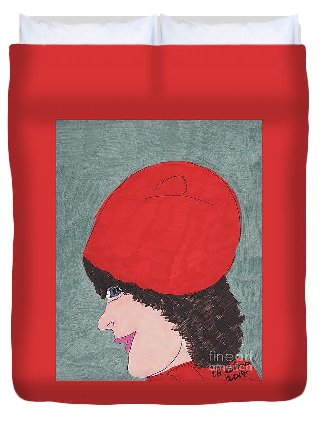 Lady With Dark Curly Hair In A Red Outfit Duvet Cover featuring the mixed media Red Hat by Elinor Rakowski