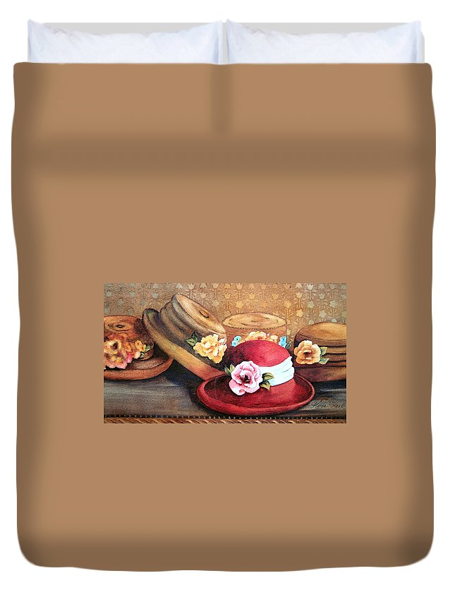 Hat Duvet Cover featuring the painting Red Hat by Karen Stark