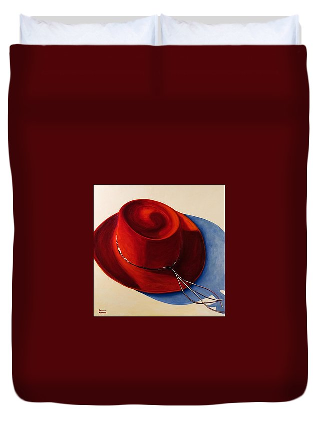 Red Hat Duvet Cover featuring the painting Red Hat by Shannon Grissom