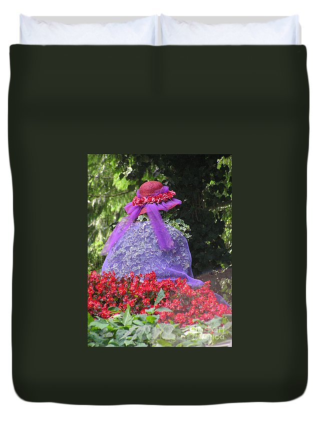 Red Hat Duvet Cover featuring the photograph Red Hat Veil by Louise Magno