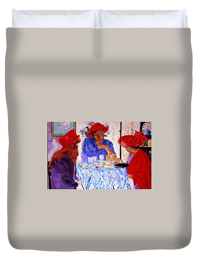 Red Hat Duvet Cover featuring the painting Red Hatters Chatter by Jean Blackmer