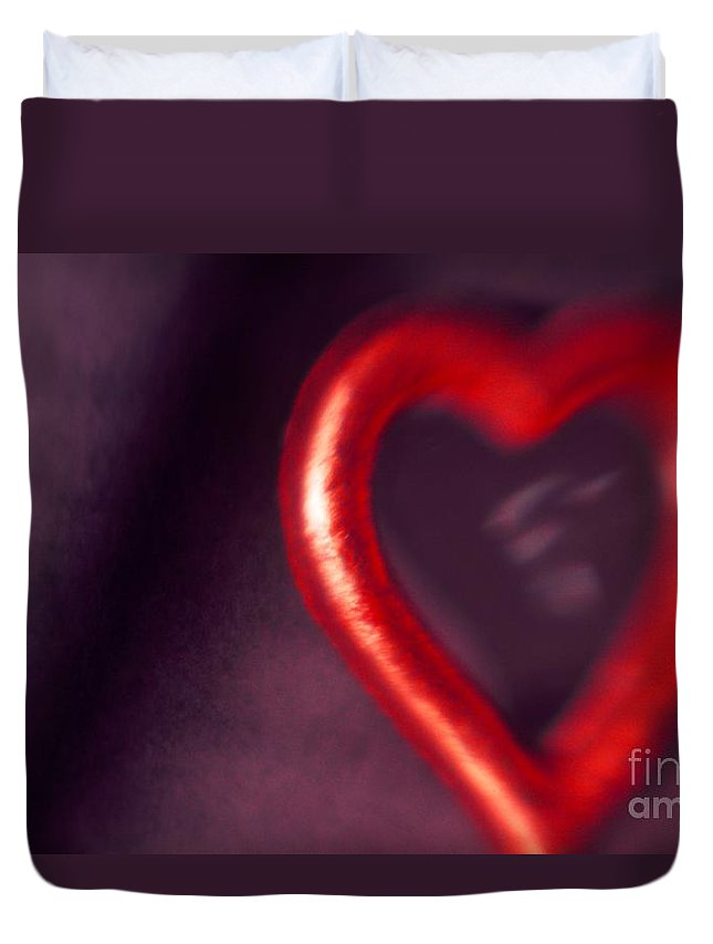 Red Duvet Cover featuring the photograph Red Heart Mirror by Tamarra Tamarra