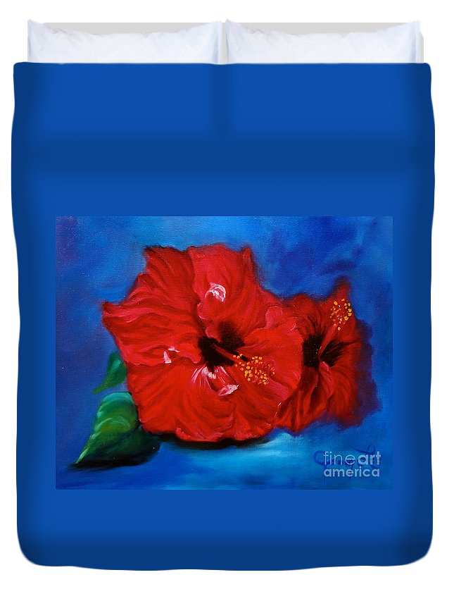 Hawaii State Flower Duvet Cover featuring the painting Red Hibiscus by Jenny Lee