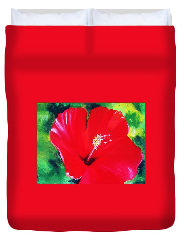 Bright Flower Duvet Cover featuring the painting Red Hibiscus by Melinda Etzold