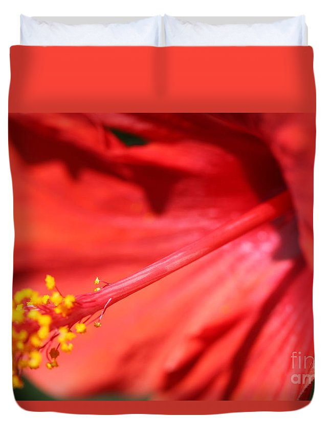 Red Duvet Cover featuring the photograph Red Hibiscus by Nadine Rippelmeyer
